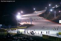 수안보 사조마을 스키장 야간 풍경